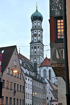 Parish church of Santa Ulrich in the evening light, Augsburg, Swabia, Bavaria, Germany