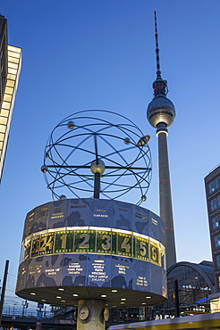 Alexanderplatz in the evening light, TV Tower and World Time clock, Berlin, Germany