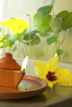 Oil lamp in the Ayurveda spa, Jetwing Hotel Vil Uyana, Sigiriya, Matale Distict, cultural triangle, Sri Lanka
