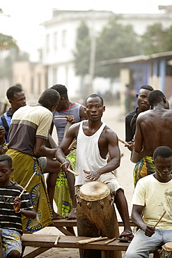 Men and boys playing percussions, Voudoun ceremony, Agbanakin, Togo