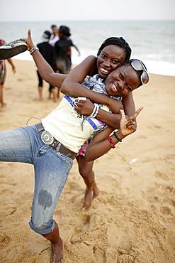 School class at beach, Ouidah, Route des Peches, Atlantique Department, Benin