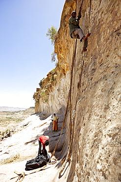 The way into the monastery Debre Damo, near Adigrat, Tigray Region, Ethiopia