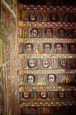 Ceiling fresco of winged angel heads in a monastery, Debre Berhan Selassie, Gondar, Amhara region, Ethiopia