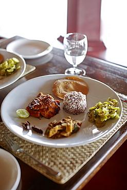Ayurvedic lunch in a hotel restaurant, Gokarna, Karnataka, India
