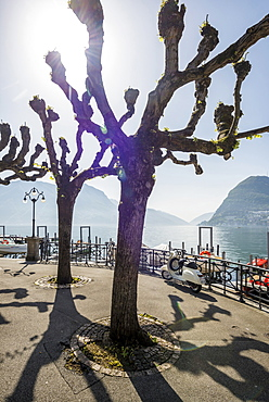 Lake shore in Lugano, Lake Lugano, canton of Ticino, Switzerland