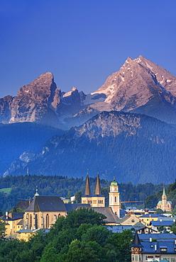 Berchtesgaden with Watzmann, Berchtesgaden, Berchtesgaden range, Upper Bavaria, Bavaria, Germany