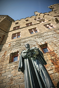 Statue of former ruler at Hohenzollern castle, Hechingen Bissingen, Swabian Alp, Baden-Wuerttemberg, Germany