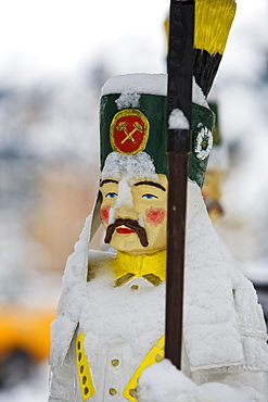 Snow-covered miner figure, Ore mountains, Saxony, germany