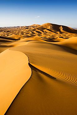 sand dunes, near Merzouga, Erg Chebbi, Sahara Desert, Morocco, Africa