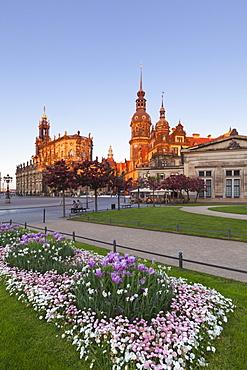 View from Theaterplatz towards Hofkirche and Residenzschloss, Dresden, Saxony, Germany