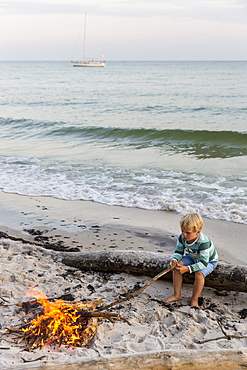 Five year old boy sitting around the campfire, adventure, sailing boat, dream beach between Strandmarken und Dueodde, sandy beach, summer, Baltic sea, Bornholm, Strandmarken, Denmark, Europe, MR