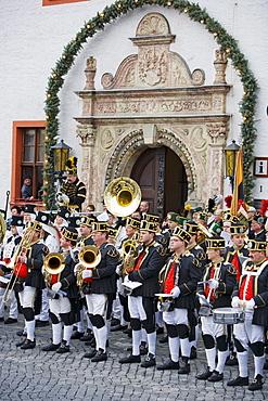 Miners parade, Marienberg, Ore mountains, Saxony, Germany