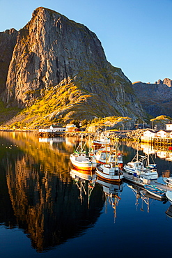 Boats, Port, Fjord, Sunset, Hamnoya, Moskenesoya, Lofoten, North, Norway