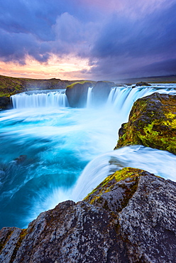 Waterfall, Godafoss, Sunset, Cliff, River, Iceland, Europe