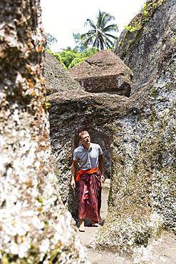 Man visiting Pura Gunung Kawi, Tampaksiring, Ubud, Bali, Indonesia