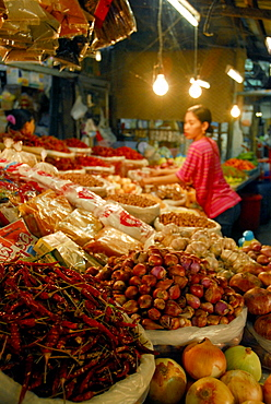 Onion, garlic and chilli peppers at the main market, Phuket Town, Thailand