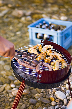 Barbecue at river Isar, Munich, Bavaria, Germany