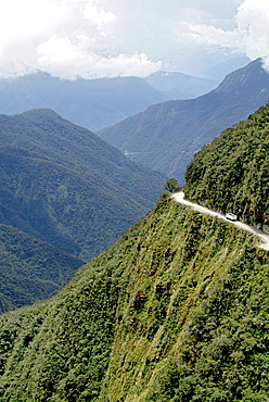 The Yungas Road, Road of Death, Road down to The Yungas, lowlands of the Beni region, Bolivia, South America