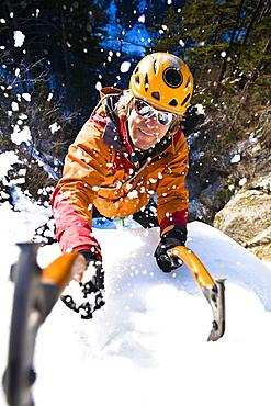 Man ice climbing, Hokkaido, Japan