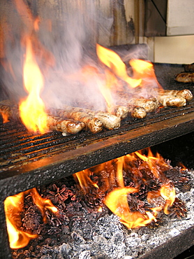 Barbecue with Coburg fried sausages, Coburg, Franconia, Bavaria, Germany