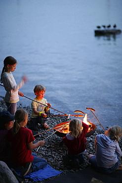 Children grilling at lakeshore, Lake Starnberg, Bavaria, Germany
