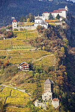 Branzoll castle and Saeben Abbey, Klausen, Trentino-Alto Adige/Südtirol, Italy
