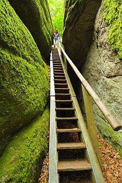 Woman an staircase, Felsenpark, castle Falkenstein, Bavarian Forest, Upper Palatinate, Bavaria, Germany