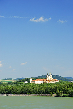 View over Danube river to Melk Abbey, Wachau valley, Lower Austria, Austria