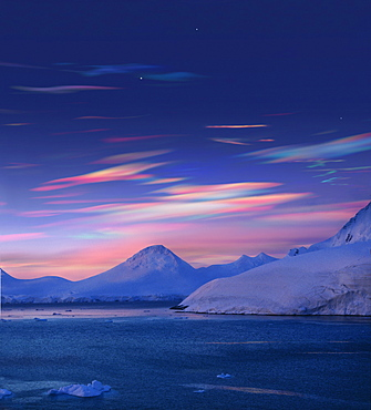 Polar stratospheric clouds above icebergs, Antarctic Peninsula, Antartica