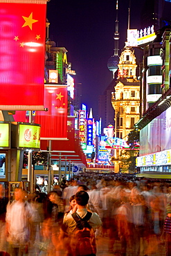 Shopping, Nanjing Road,Evening, Nanjing Road shopping, people, pedestrians, consumer, consume, lovers