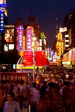 Shopping, Nanjing Road,Evening, Nanjing Road shopping, people, pedestrians, consumer, consume