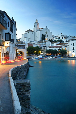 Costa Brava, Cadaques Bay with the Parish Church Santa Maria, Cadaques, Costa Brava, Catalonia Spain