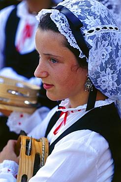 Girl wearing traditional dress, village festival,San Juan de Poio,Province Pontevedra,Galicia,Spain