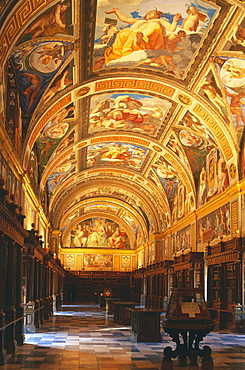 Library inside the monastery,Monasterio de El Escorial,Province Madrid,Spain