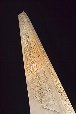 Luxor Temple Obelisk at Night, Luxor, Egypt