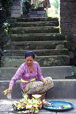 sacrifice from a balinese woman, ubud, bali, indonesia