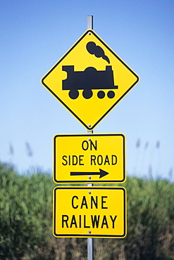 Sugarcane Train Warning Sign, Near Mossman, Queensland, Australia