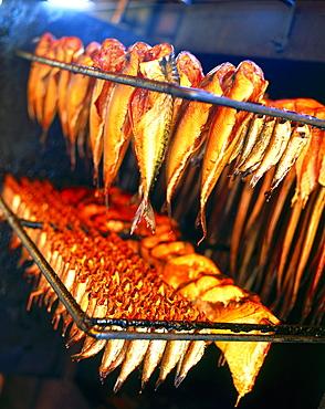Rows of smoked fish