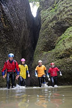 Man swim and hike canyoning, Raebloch, Emmental valley, Canton of Bern, Switzerland, MR