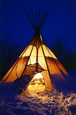 Indian tipi in winter, Uffing, Upper Bavaria, Bavaria, Germany