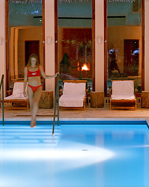 Woman at a pool, Hotel Neuklostersee, Nakenstorf, Mecklenburg-Western Pomerania, Germeny, MR, PR