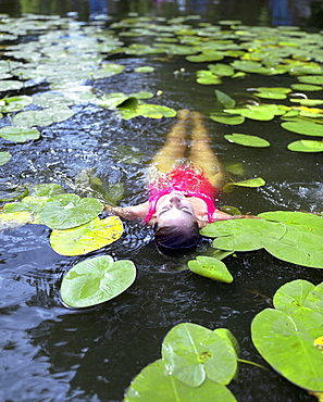 Woman bathing between water lilies, Hotel Neuklostersee, Nakenstorf, Mecklenburg-Western Pomerania, Germany