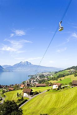 Weggis-Rigi Kaltbad Aerial Cableway on Rigi (1797 m), Pilatus (2132 m) in the background, Weggis, Canton of Lucerne, Switzerland