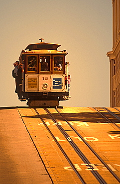 California San Francisco cable car on top of hill