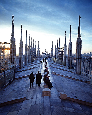 People on walkable roof of the central aisle, Milan Cathedral, Milan, Lombardy, Italy