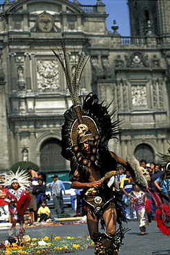 Actec dancers in front of the cathedral, Mexico City, Mexico, America