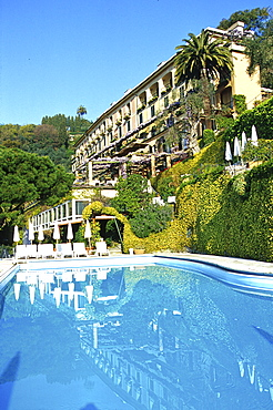 Hotel Splendido with pool in the sunlight, Portofino, Liguria, Italy, Europe