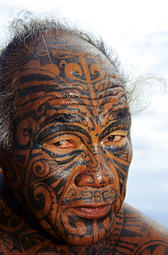 Man with face tattoos, Rangiroa, Tuamotu Islands, French Polynesia, South Pacific