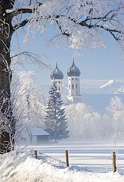 Benediktbeuren Abbey in winter, Upper Bavaria, Germany