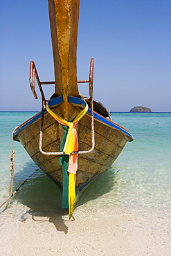Longtail Boat on Ko Lipe Beach, Ko Lipe, Tarutao Marine National Park, Thailand